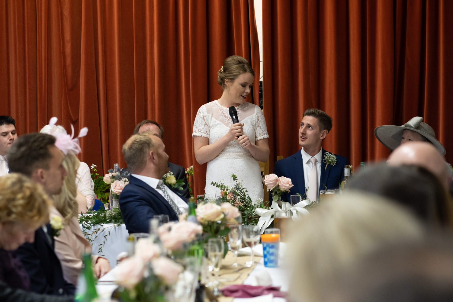 Bride making speech at wedding