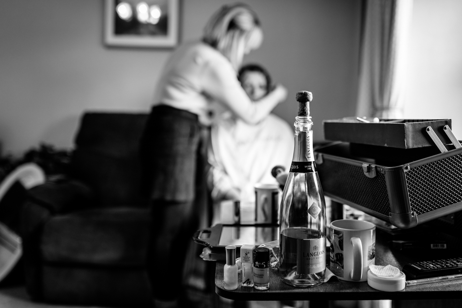 Bottle of champagne during bridal preparations