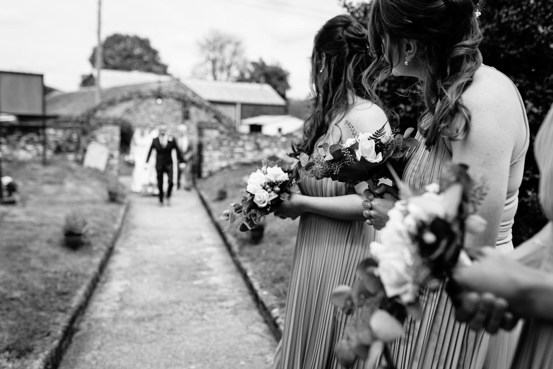 Bride walking up church path