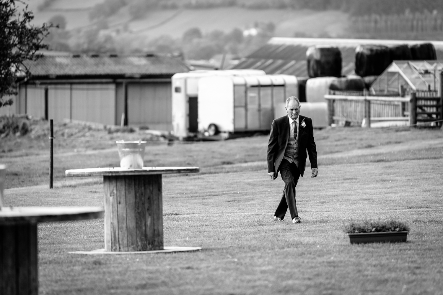 Father of bride walking to reception