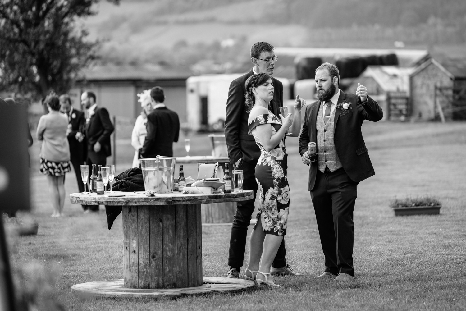 Wedding guests and groom chatting