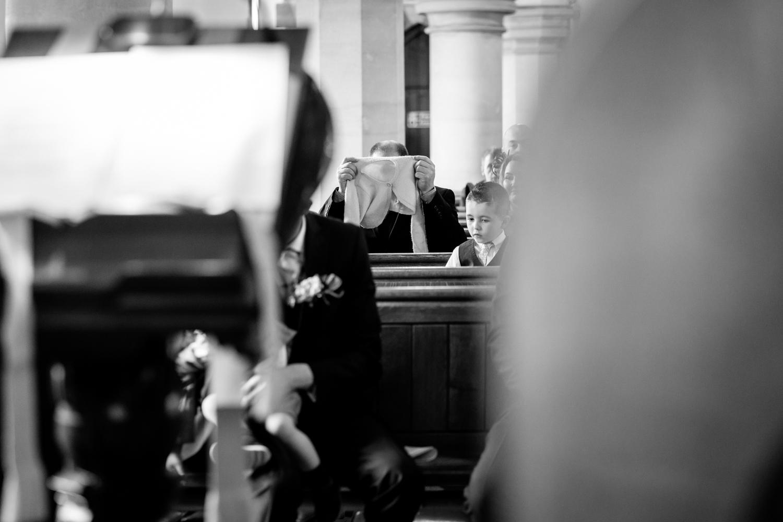 Wedding guest at church