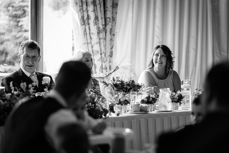 Bridesmaid during wedding speeches