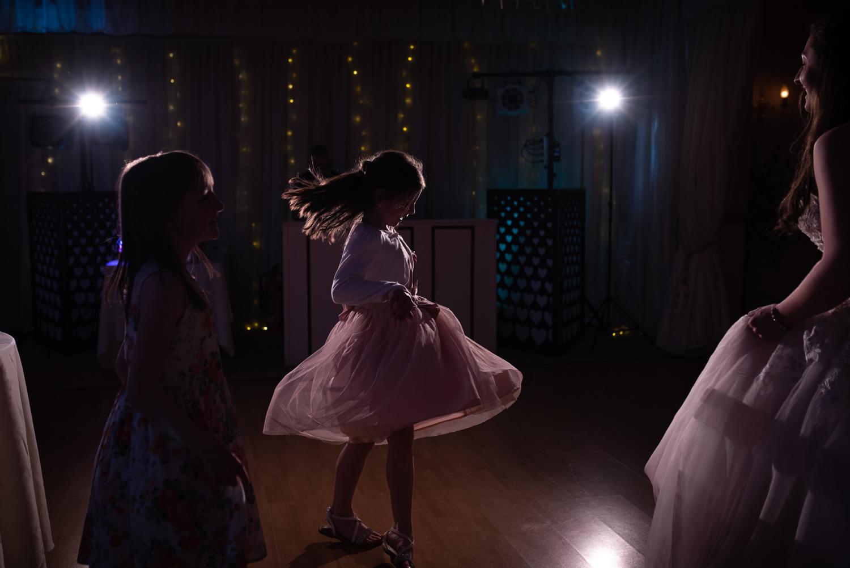 Children dancing at evening wedding party