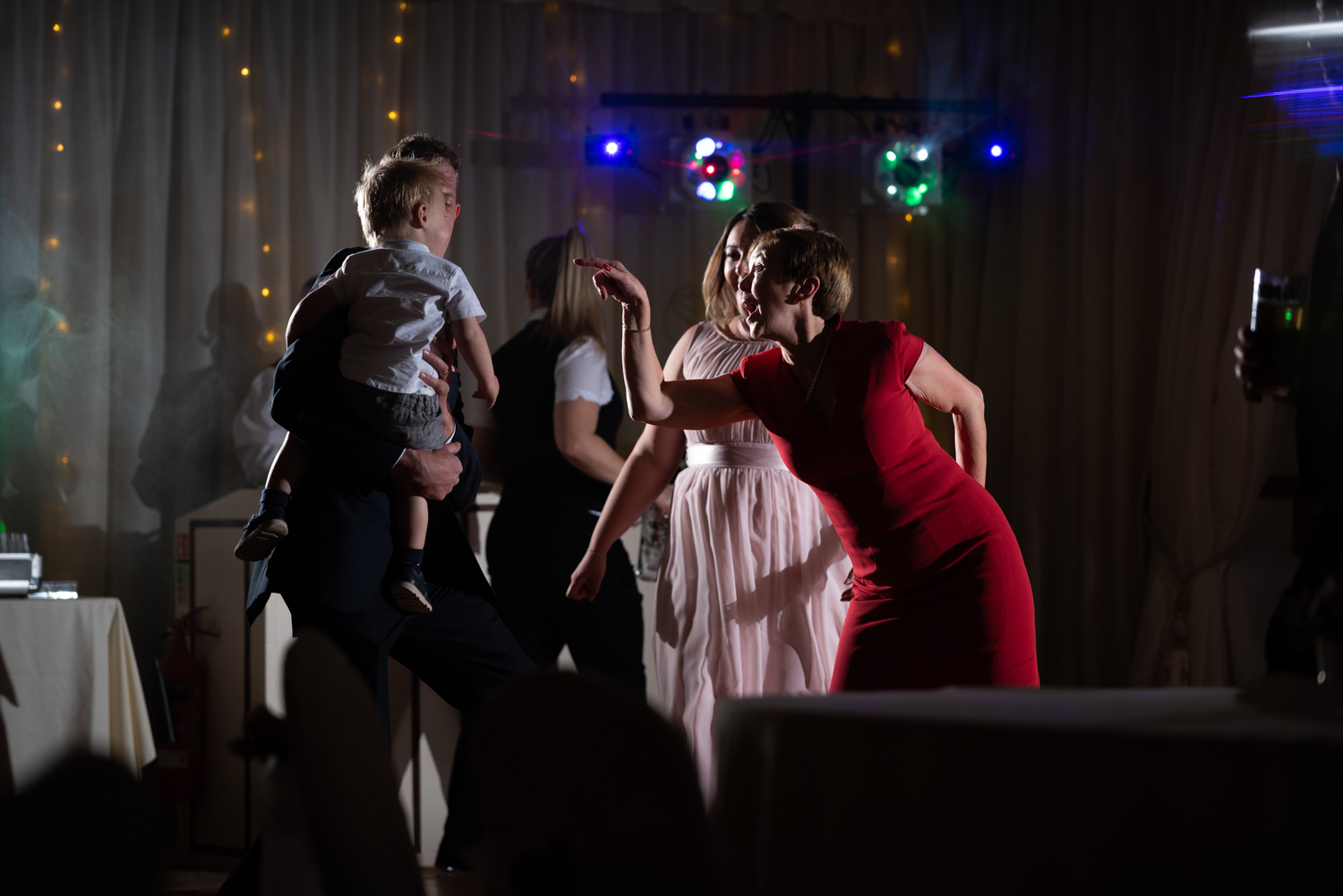 Guests dancing at wedding at Albright Hussey