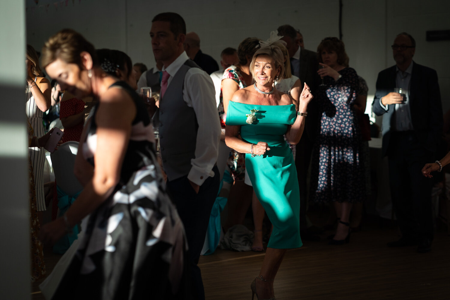 Wedding guests partying at a Royal Welsh Showground wedding