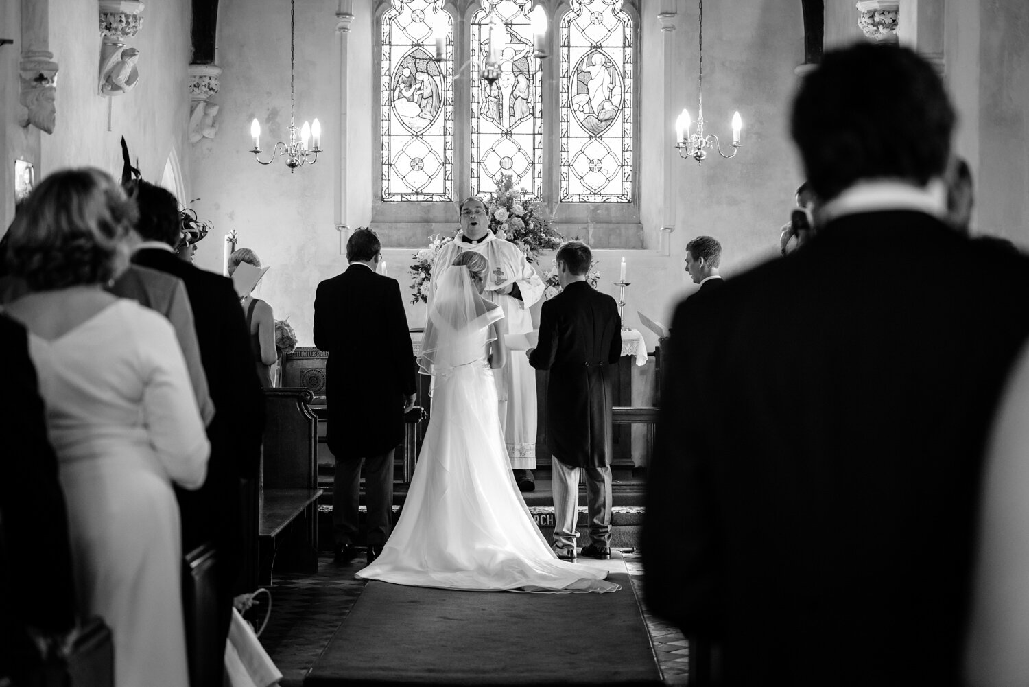 Bride & groom stood at altar in Glasbury church
