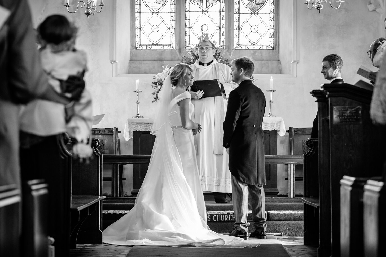 Powys wedding bride and groom saying vows