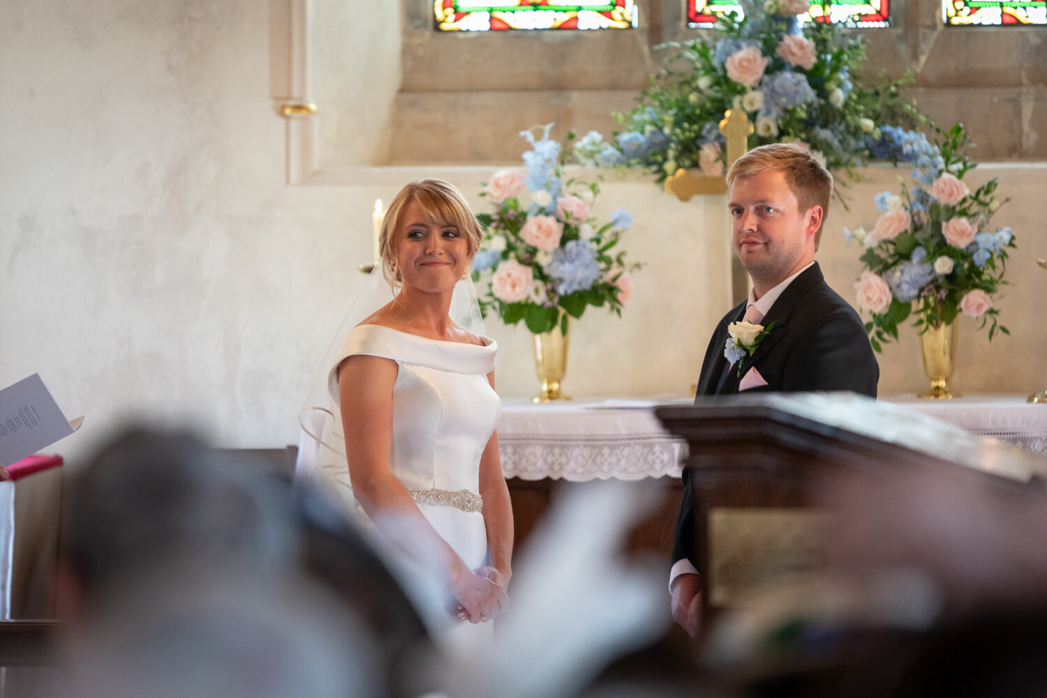 Bride and groom in Glasbury church