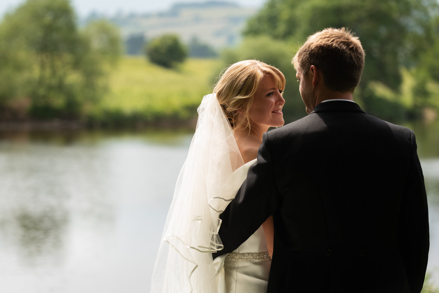 Bride and groom by River Wye