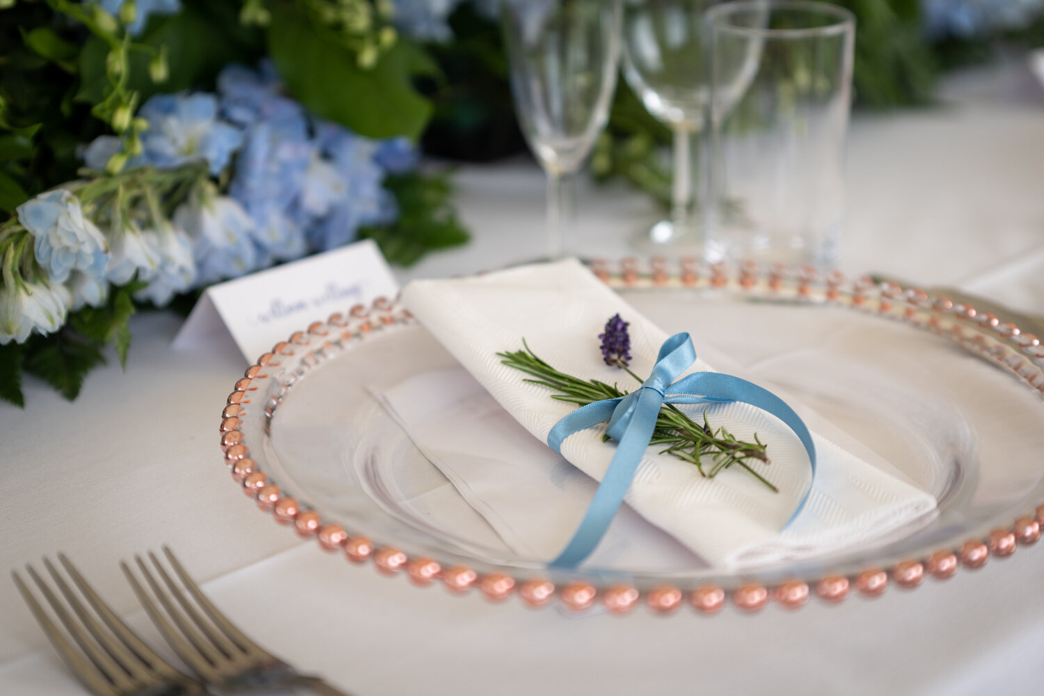 Place setting with lavender at Powys wedding