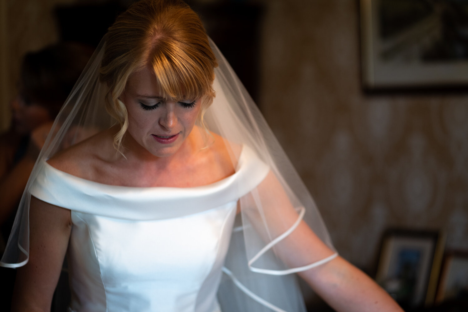 Bridal having veil altered