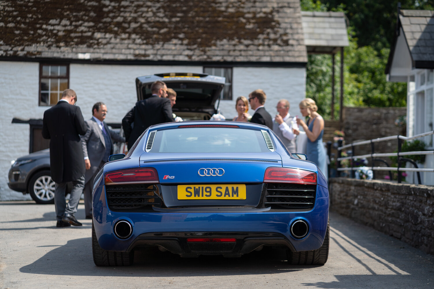 Audi R8 wedding car at Powys wedding
