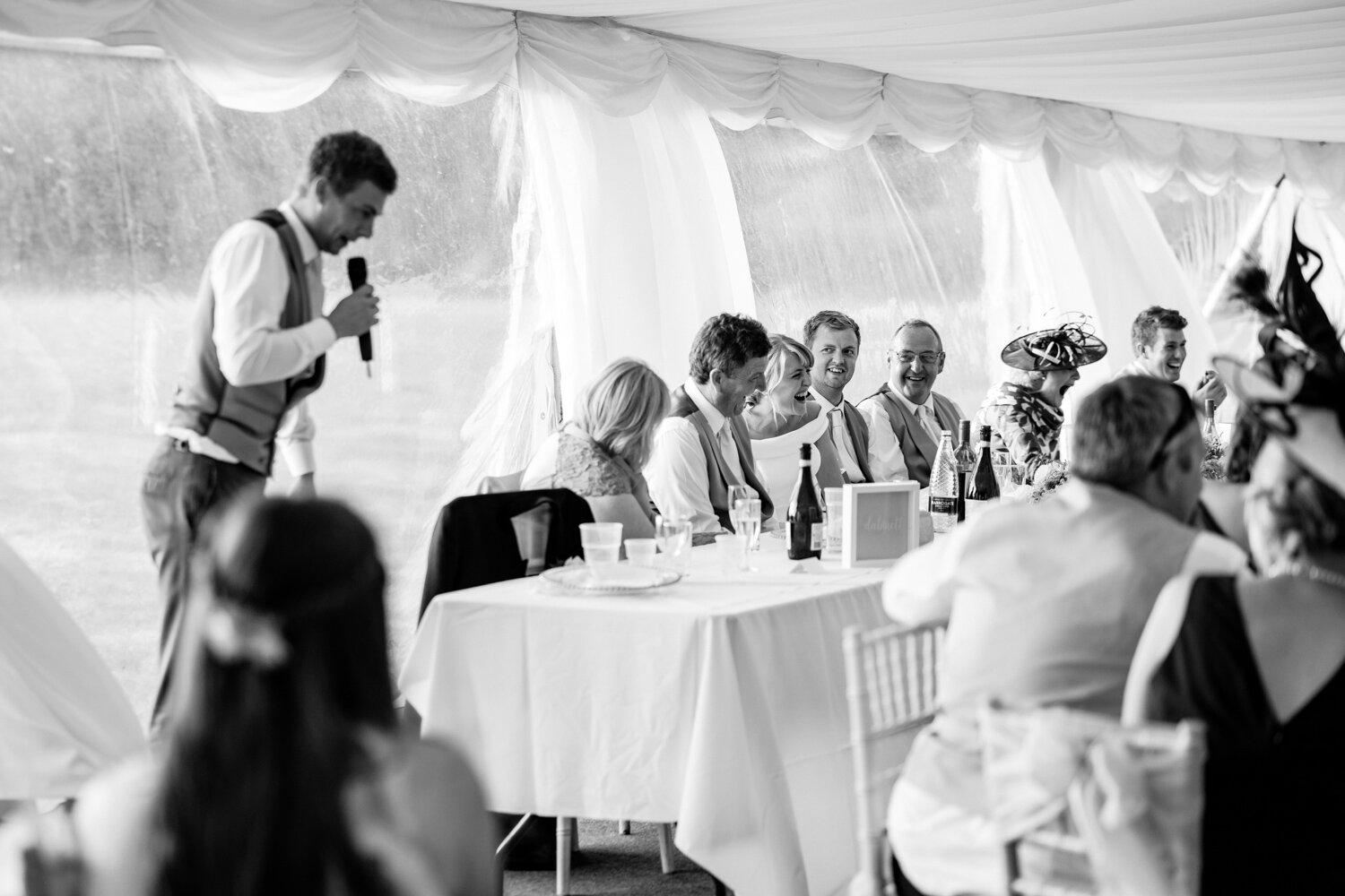 Lots of laughter during best man speech at Breconshire wedding