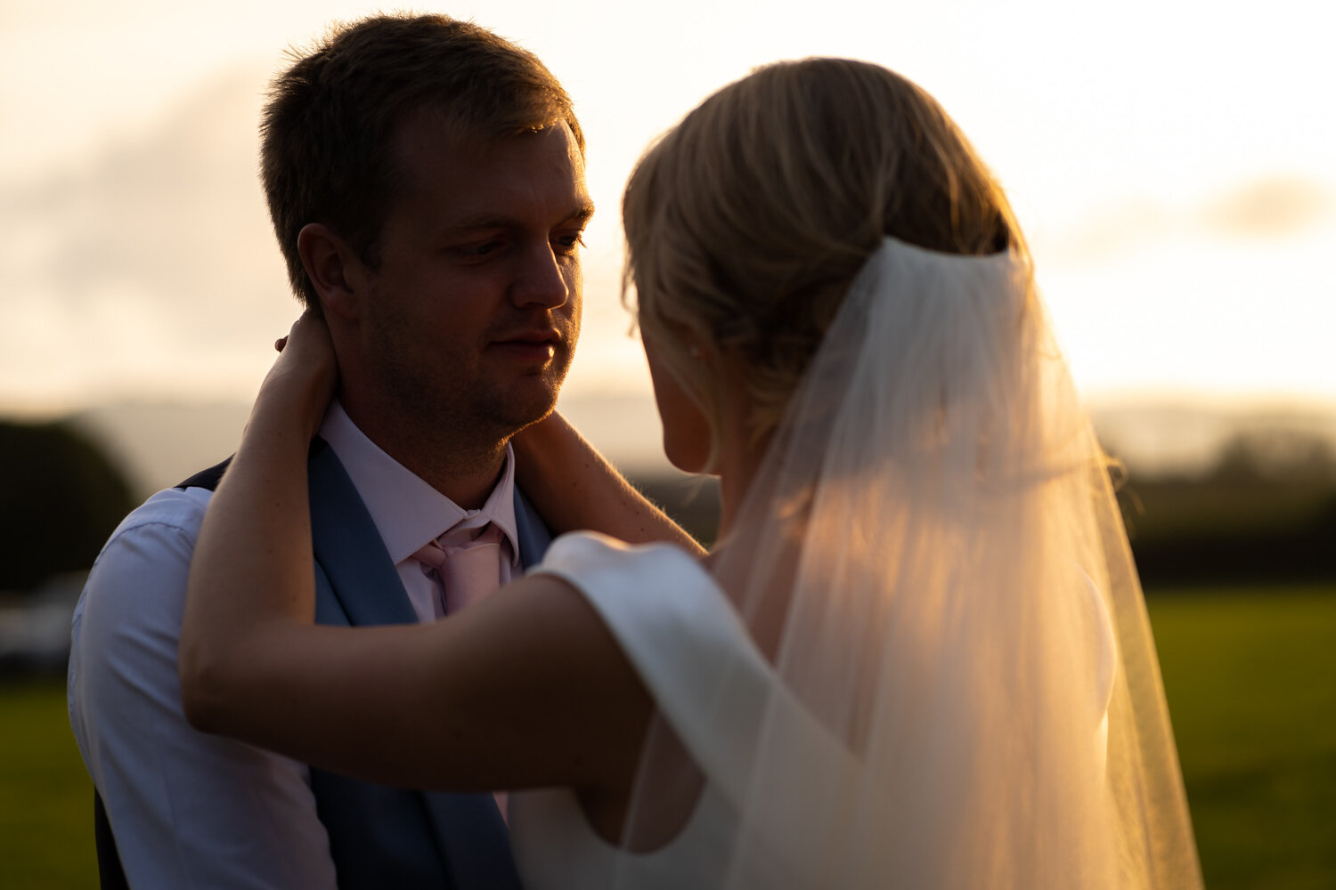 Gorgeous light during golden hour at South Wales wedding