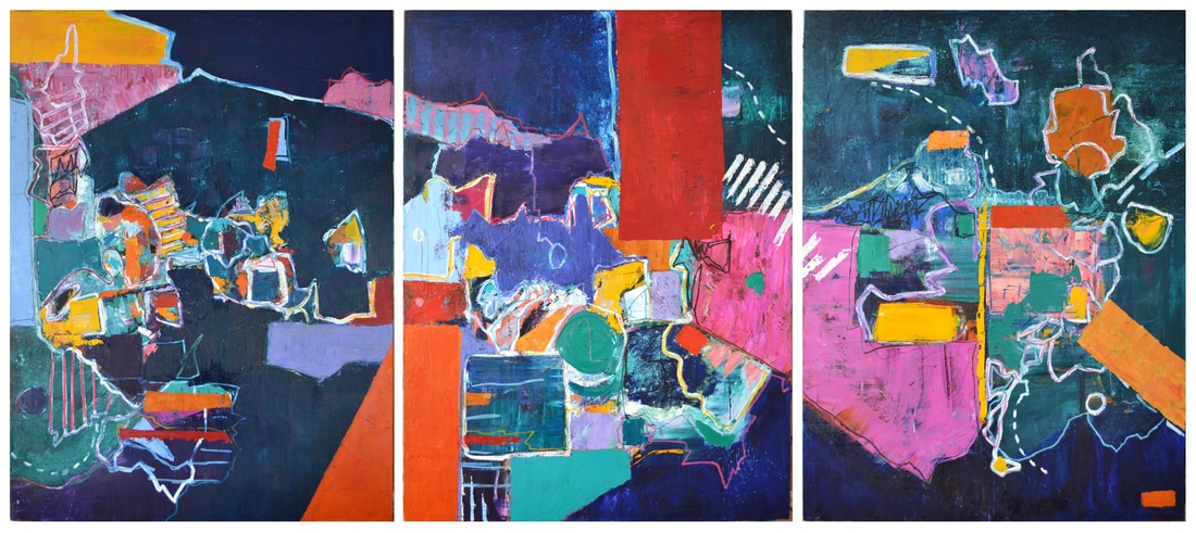 Not Yet  Three panels; each 48 x 36 inches (total: 48 x 108 inches).  Oil on Canvas, 2017  (SOLD)