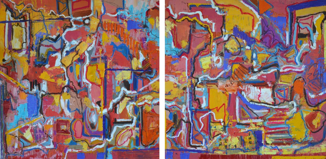 Canyons, Makeshift  Two panels; each 24 x 24 inches (total: 24 x 48 inches).  Oil on Wood, 2016  (SOLD)
