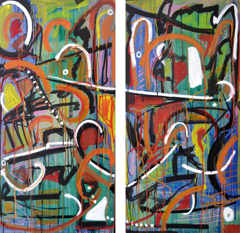 Toss, Year Two  Two panels; each 48 x 24 inches (total: 48 x 48 inches).   Acrylic & Oil Pastel on Wood, 2015 ( SOLD )