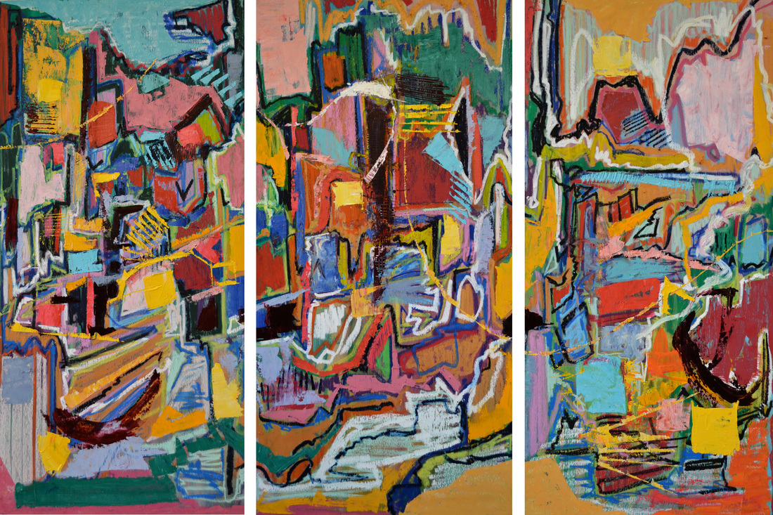 Ribbon Falls  Three panels; each 48 x 24 inches (total: 48 x 72 inches).   Oil on Wood, 2014  (SOLD)