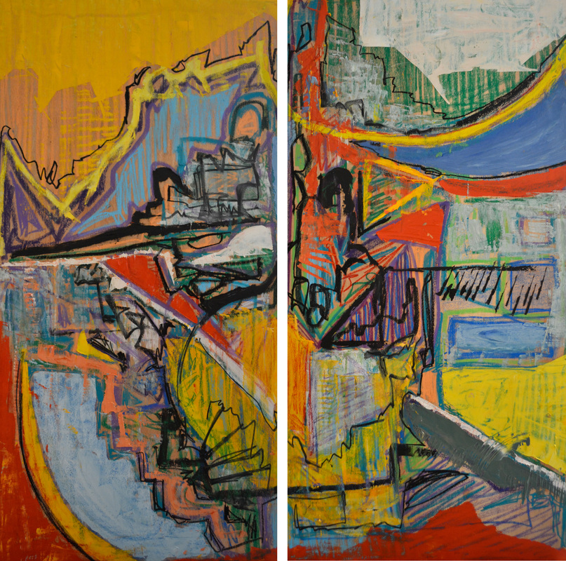 Hope Against Hope  Two panels; each 24 x 48 inches (total: 48 x 48 inches).   Oil on Wood, 2014 ( SOLD )