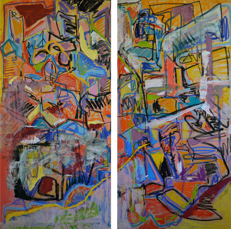 On My Wall  Two panels; each 24 x 48 inches (total: 48 x 48 inches).   Oil on Wood, 2014 ( SOLD )