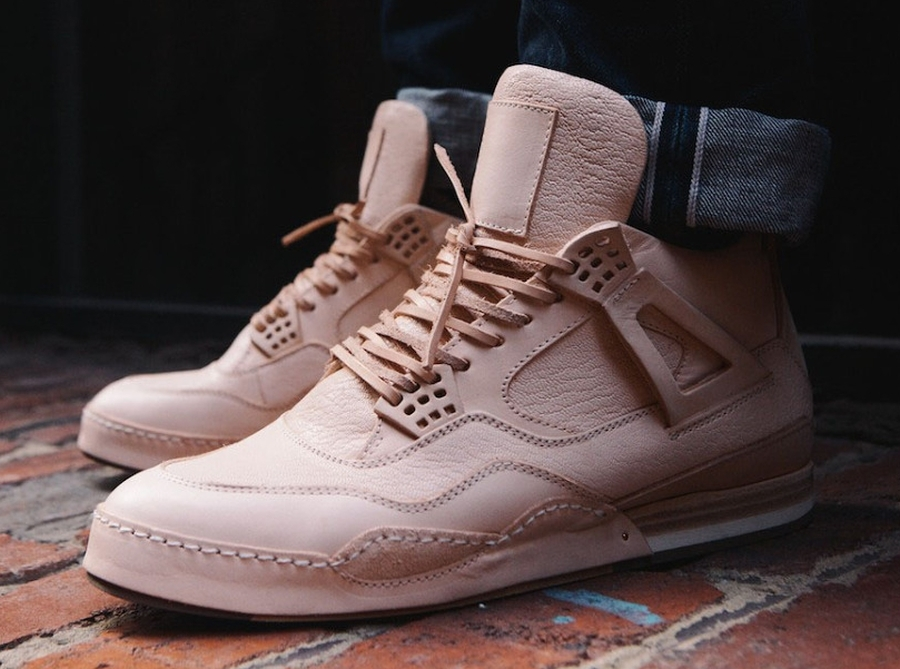 "The Hender Scheme Manual Industrial Products ""10"" Sneaker, a hand-stitched luxury homage to Hatfield's Air Jordan IV design"