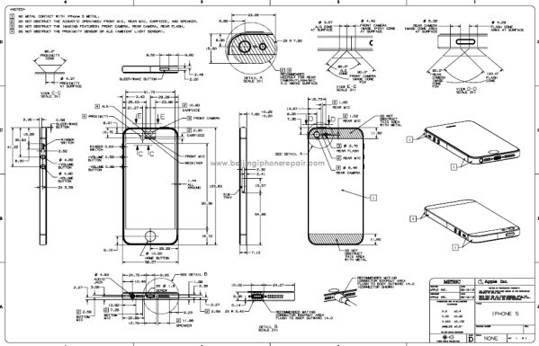 iPhone 5 schematics. Note the intricacy of the spacing between buttons.