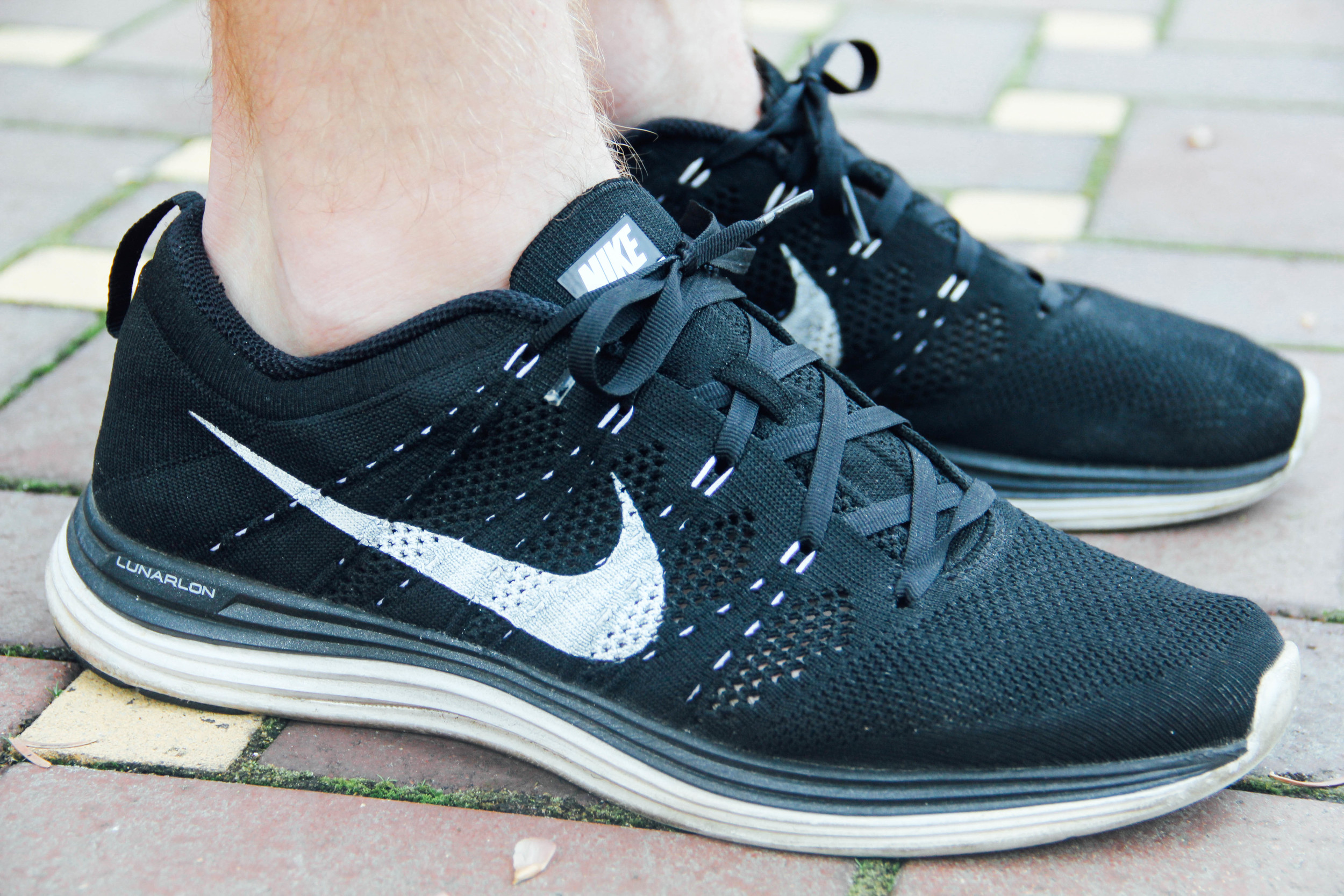 The Nike Flyknit Lunar 1 in Black/White (Flywire in contrast white)