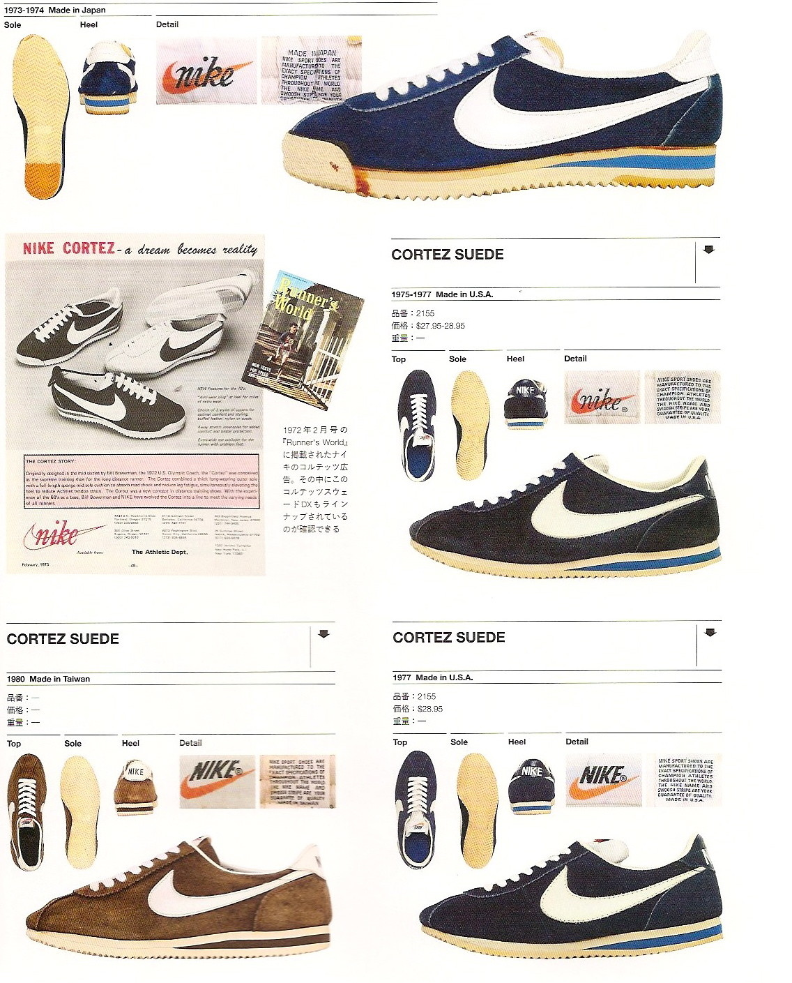 "The Nike Cortez ""Suede"" Series, 1973-1980 (source:  arkamix.com )"