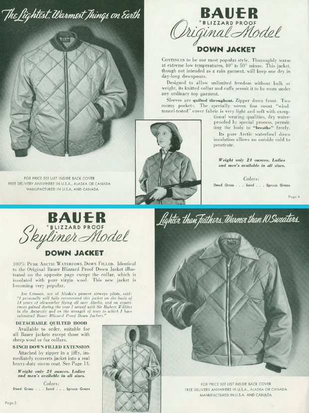 A catalog page for the original Skyliner Down Jacket, circa 1940's. Image courtesy of the Eddie Bauer Archives.