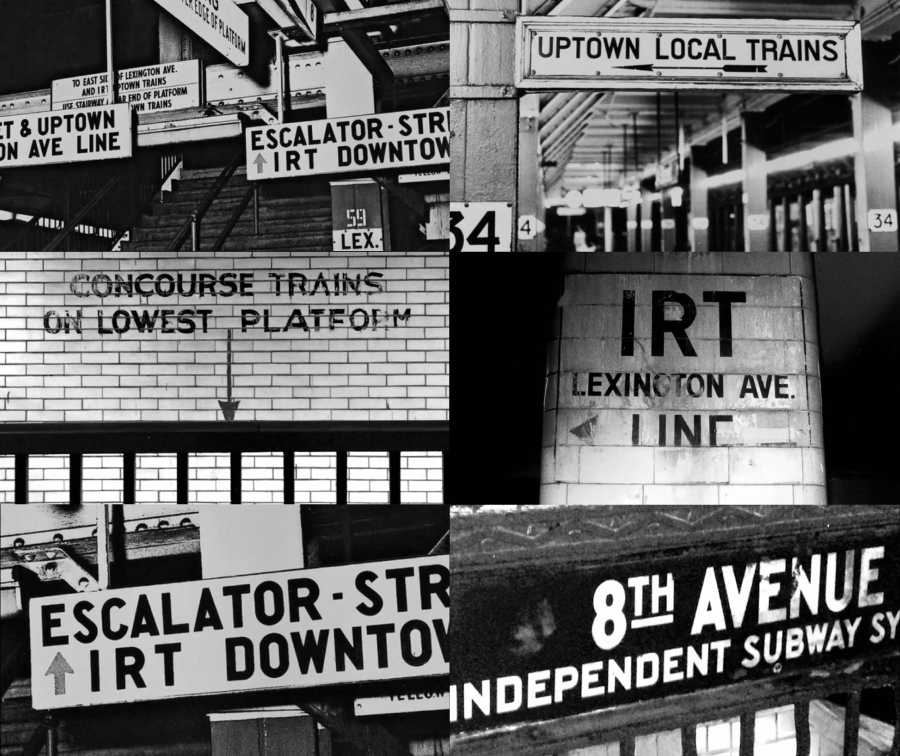 """Images of subway signage chaos included as part of a 1957 public proposal to the NYCTA titled """"Out of the Chaos: a plea and a plan for improved passenger information in the New York subways."""" (Image source: rochestersubway.com )"""