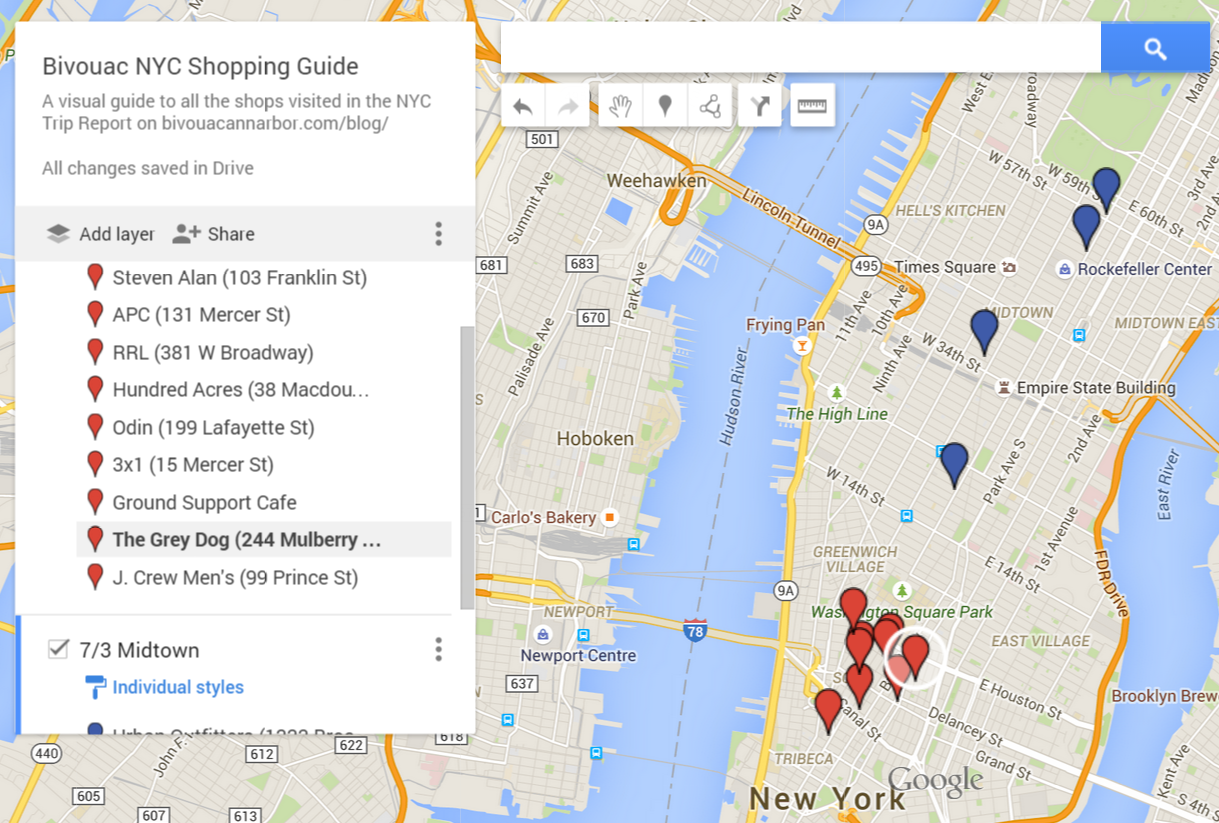 Want a rough guide for your own trip or even just a visual companion?Click  here to check out the custom, shareable  Google Maps shopping guide .