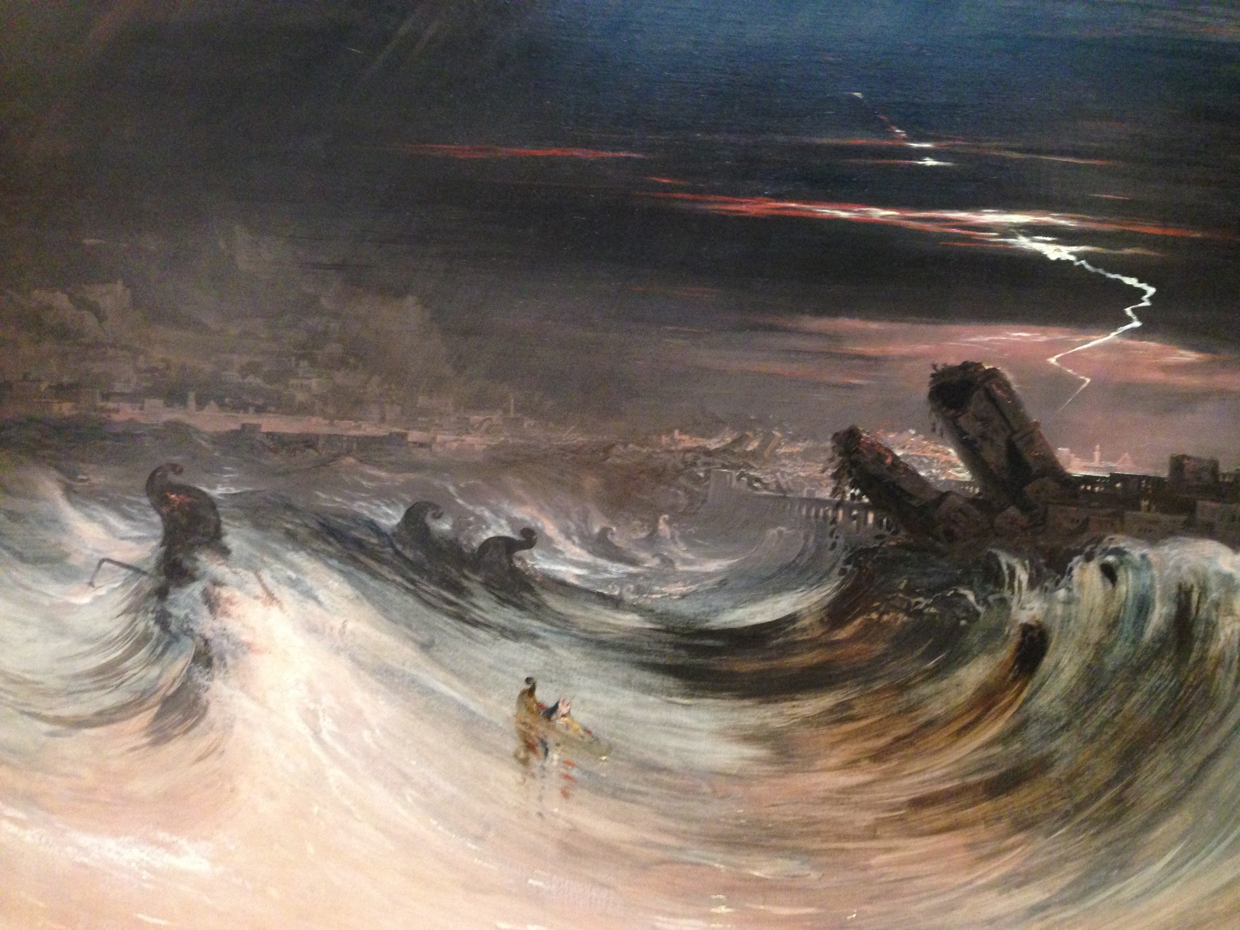 """""""Destruction of Tyre"""" by John Martin (1840)   John Martin's work are best described as """"apocalyptic terror."""" This work recounts the smiting of the city of Tyre by God, as prophesized by Ezekiel.I loved Tyre's use of color and lurid detailing of the divine waves. As opposed to """"Stormy Seas"""" above, there is no sense of emotional struggle - """"Tyre"""" is, by all accounts, the classical definition of  awesome . You, the viewer, are awestruck by the magnitude of what you are witnessing. More information on John Martin here."""
