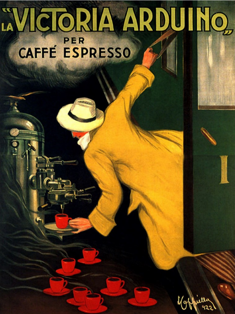 Victoria Arduino espresso advertising poster, circa 1920's (source: smithsonianmag.com )