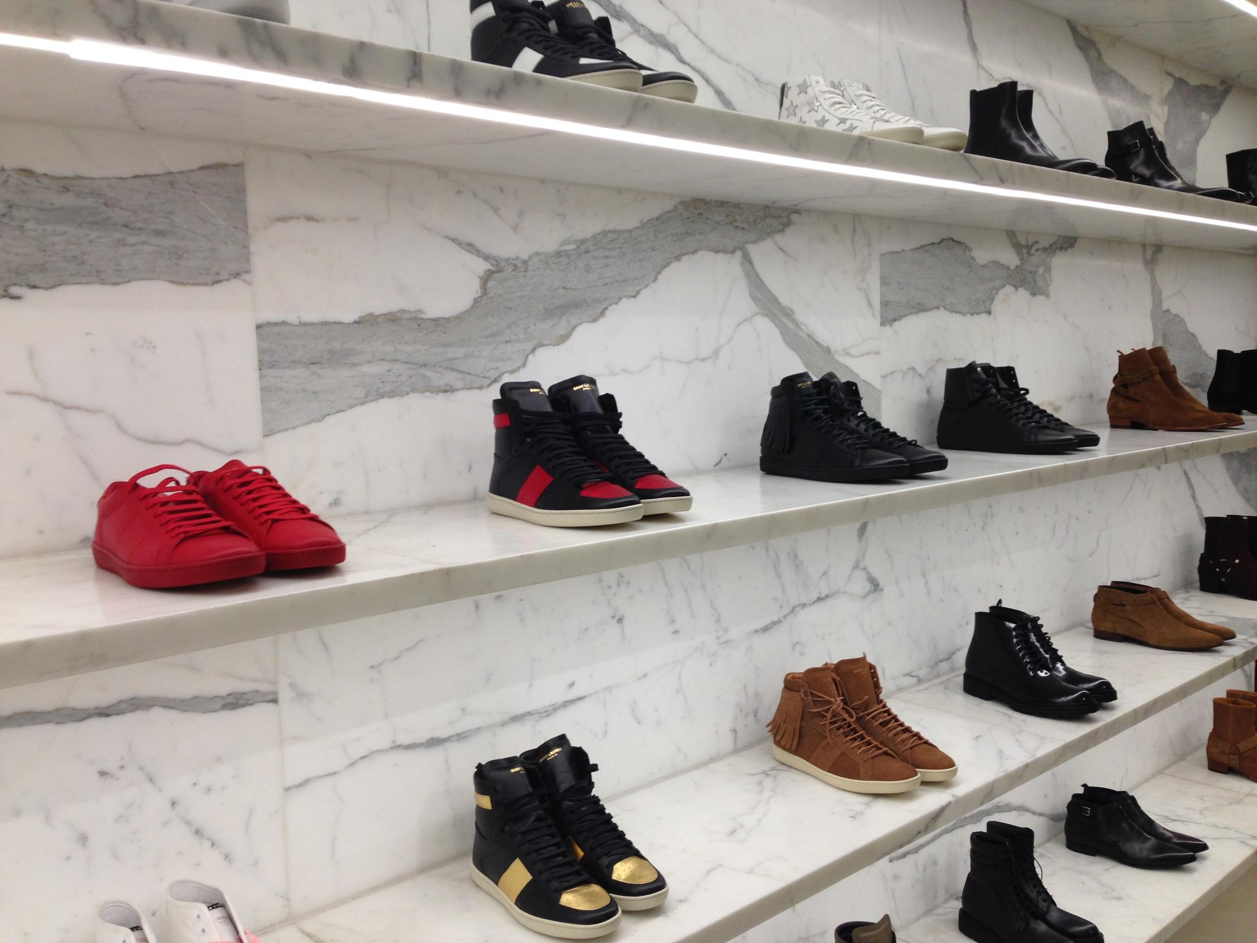 The sneaker display at a Saint Laurent Paris boutique, Dec 2015