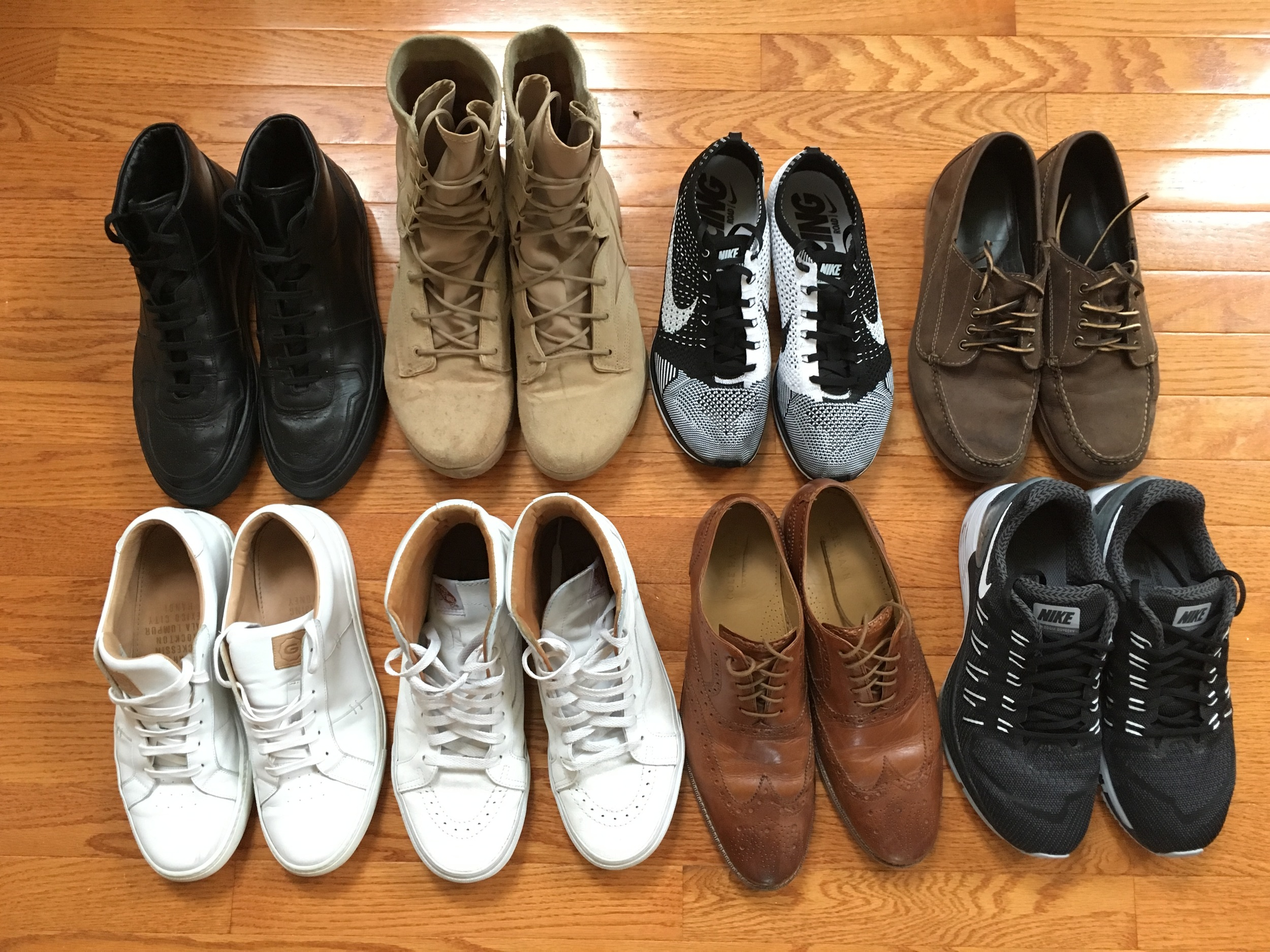 (left to right)  Top:  Common Projects BBall High/Nike SFB/Nike Flyknit Racer/LL Bean Signature Blucher Moc.  Bottom:  Greats Royale/Vans Sk8-Hi/Cole Haan Cambridge Wingtip/Nike Zoom Odyssey.