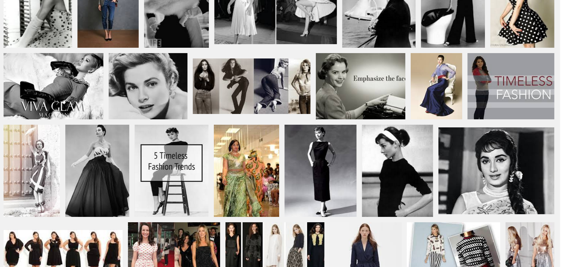 """The top Google Image results for """"timeless fashion"""" include bell-bottom jeans, elbow-length gloves, and variations on Dior's """"New Look"""" - all firmly associated with specific, finite eras.According to the Internet, timeless means that the photo was shot in black and white."""