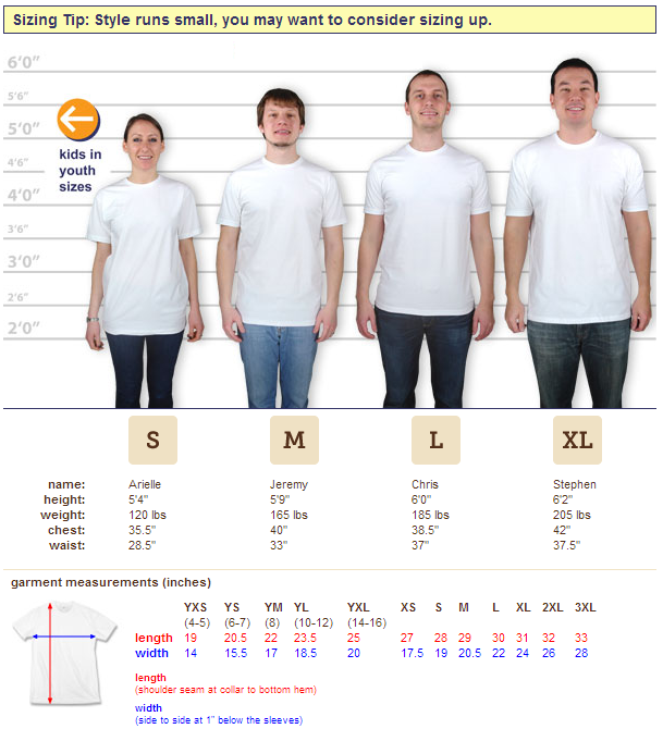 T-shirt maker Next Level's guide to sizing one of their jersey tees. Essentially, a sliding scale.