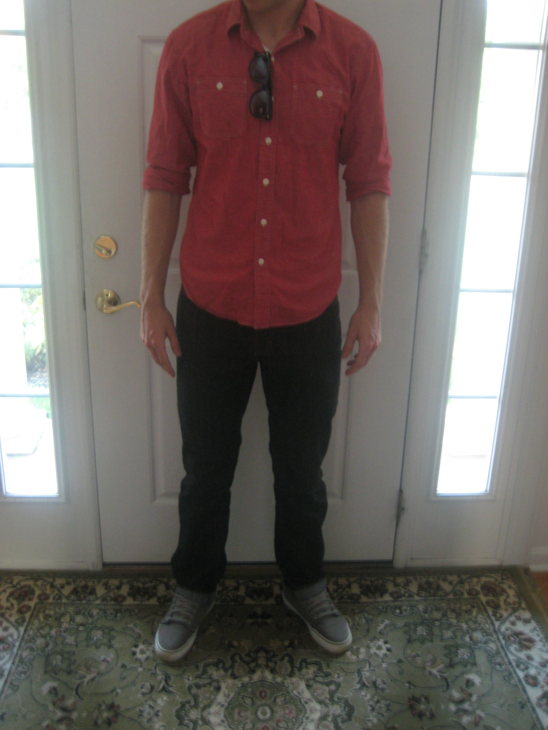 My first ever WAYWT post, taken close to four years ago. The shirt is too short, the pants are too tight at the knees, and there's some visible tightness in the chest.