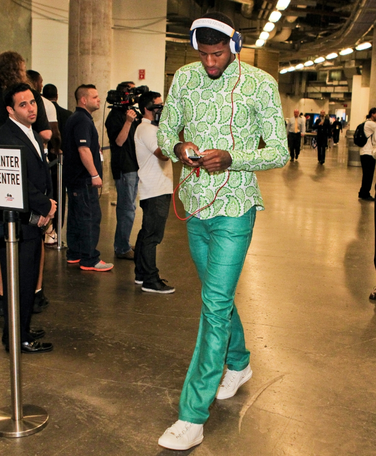 Yes, I know NBA players have their own intraleague fashion arms race where the only way to win is to out-peacock the opposition. That being said, Russell Westbrook at least does it tastefully. The dude knows his fundamentals of style. Paul George? Not so much. James Harden is on a whole other level altogether. Bless his flow.