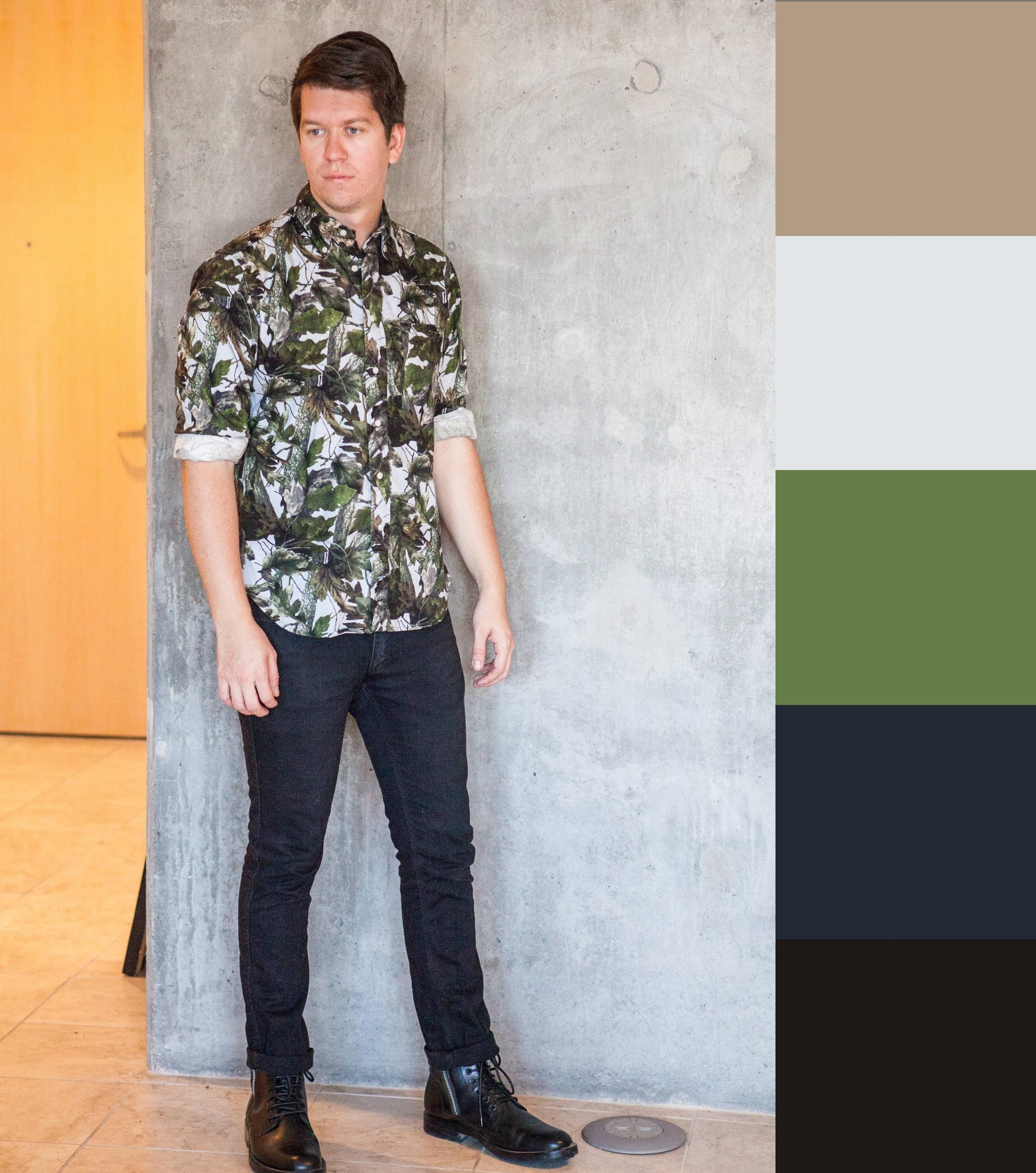 A textbook case of the importance of saturation. Unrelated colors (indigo, green, brown) with enough similar qualities to build a cohesive outfit. White and black anchor the variation, meaning the unrelated colors are different within definite bounds. One of my favorite outfits ever.
