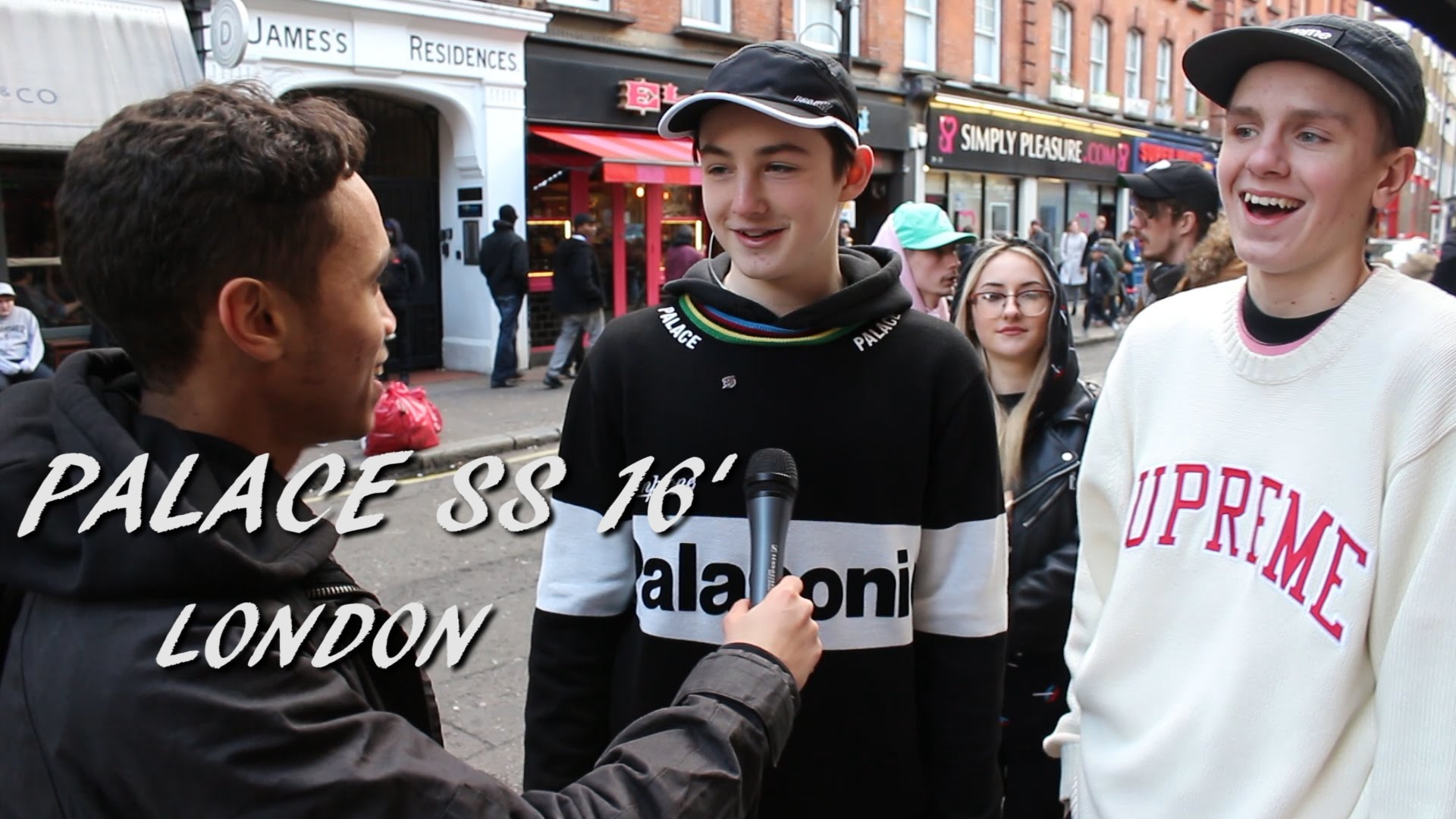 "A still from a YouTube recap of the line for the first SS16 drop from London-based skate brand ""Palace."" (source)"