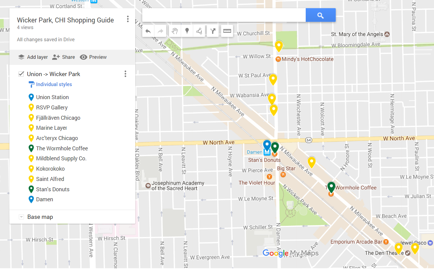 My custom Google My Map shopping guide ( link )