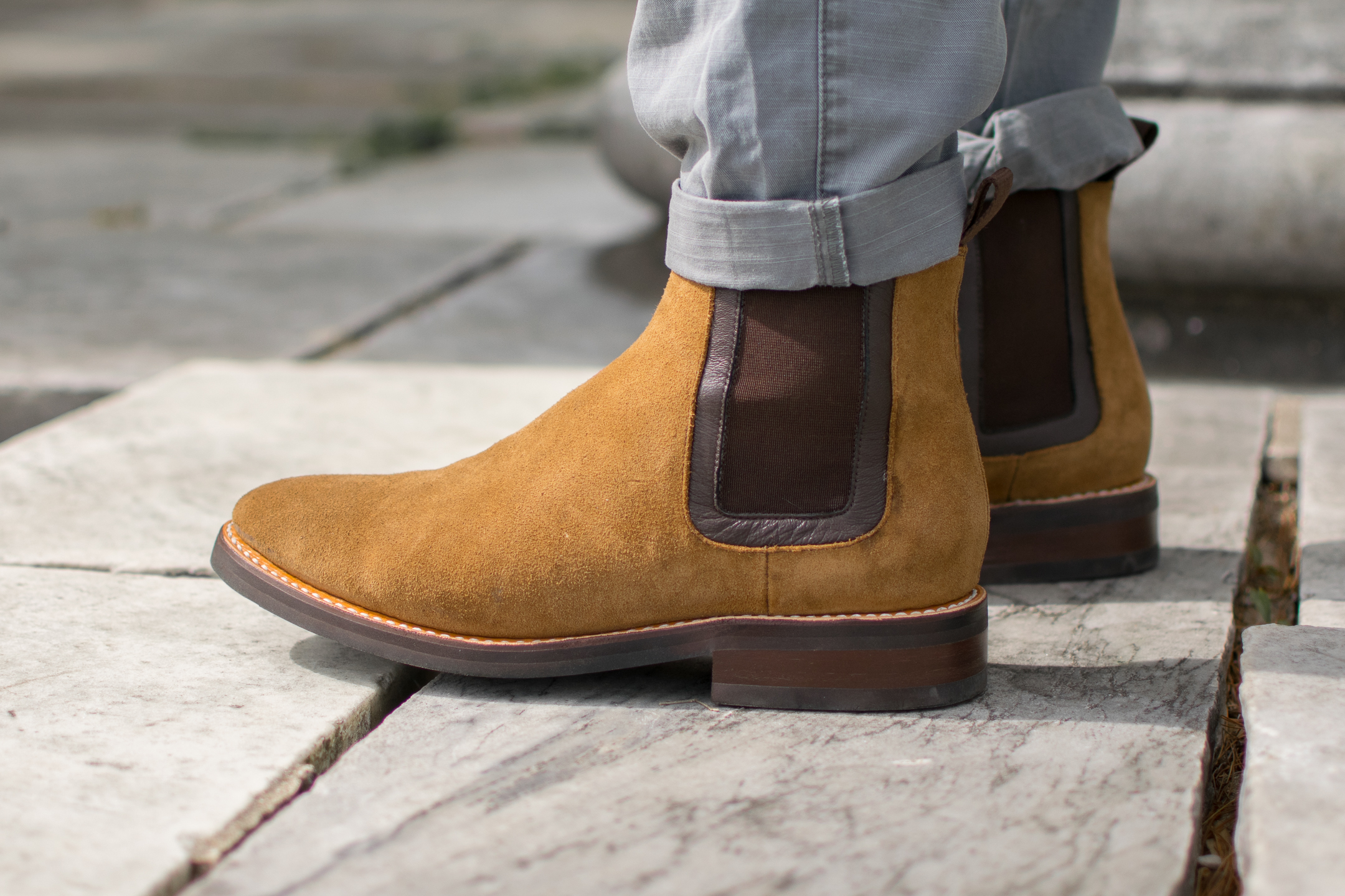 "Thursday Boots Co ""Duke"" Chelsea boot in Honey Suede"