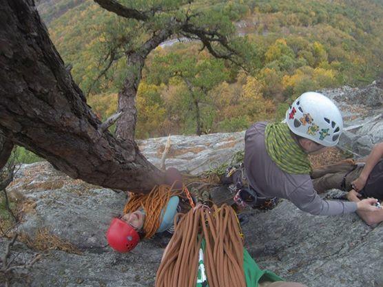 Employee climbing on a local rock.