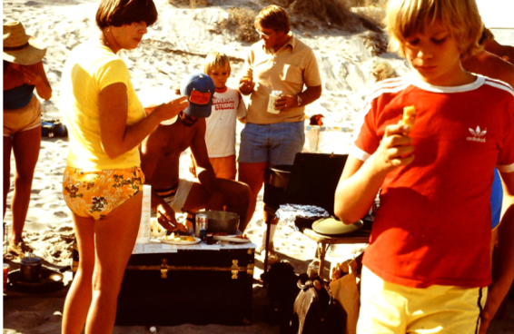 """""""This picture was taken before I was born. A trip down to Baja Mexico with the crew. My dad's in the cut off A's baseball shorts."""" Adam, Creative Director"""