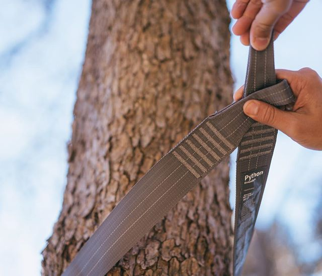 "Trees have never been happier. 🙌 With increasing regulations of LNT in State + National Parks, we designed a strap to meet and exceed these requirements. With a 2"" width, the Python Extenders are the ultimate tree-friendly straps. Plus, they add over 9' of length for those extended hangs. 🤙🤙🤙"
