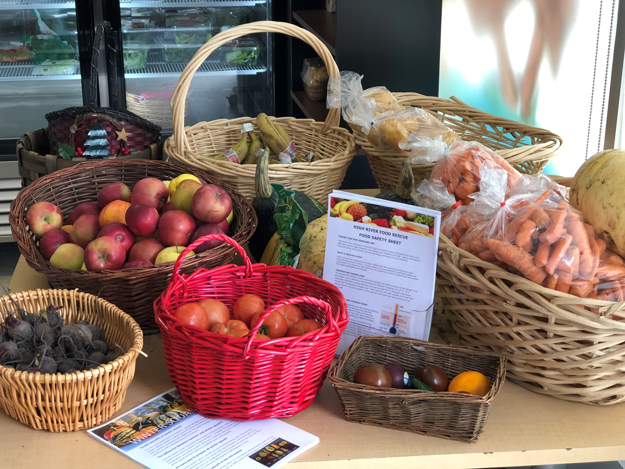 Rescued produce on display at the HRFC market