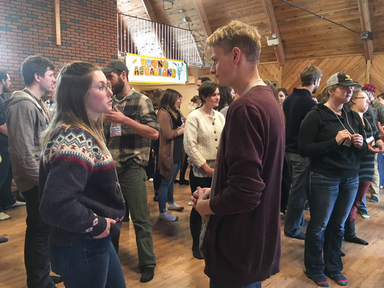 Young Agrarians get to know each other at a mixer event.