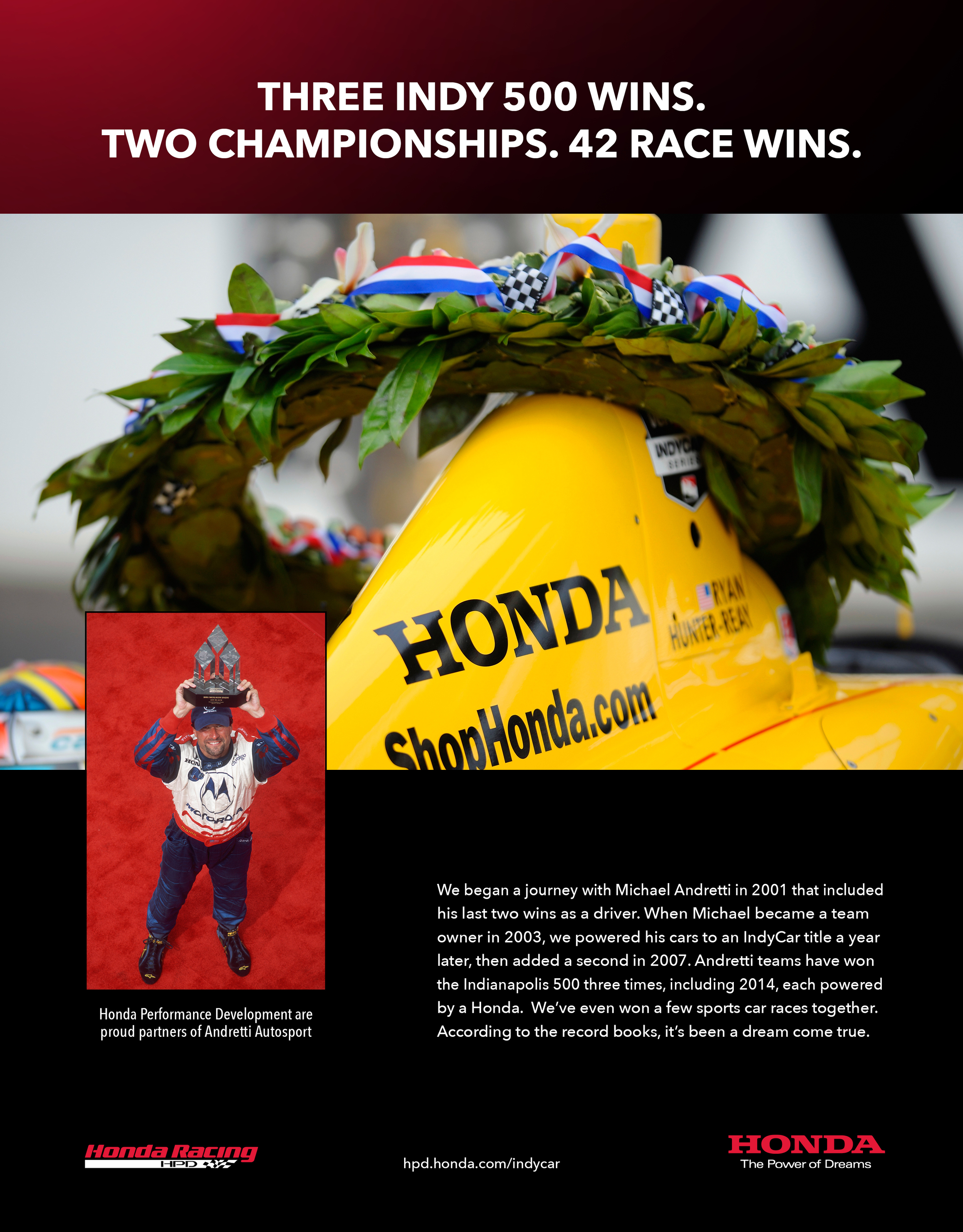 COMMUNICATIONS - Andretti Autosport Tribute   CLIENT - Honda Performance Development  Print ad creative
